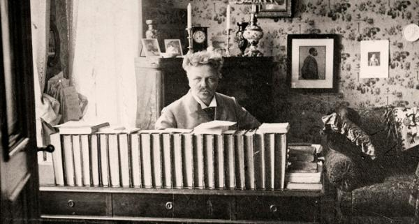Gregory Motton-August Strindberg self portrait at desk, kunglika bibloteket