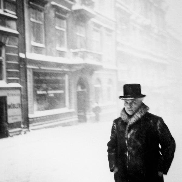 Gregory Motton-August Strindberg last photo in the snow, Drottninggatan